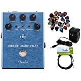 Fender Mirror Image Delay Pedal Bundle with Power Supply, Fender Instrument Cable, and 24 Picks (Color: Bundle w/ Power Supply, Tamaño: Mirror Image Delay)