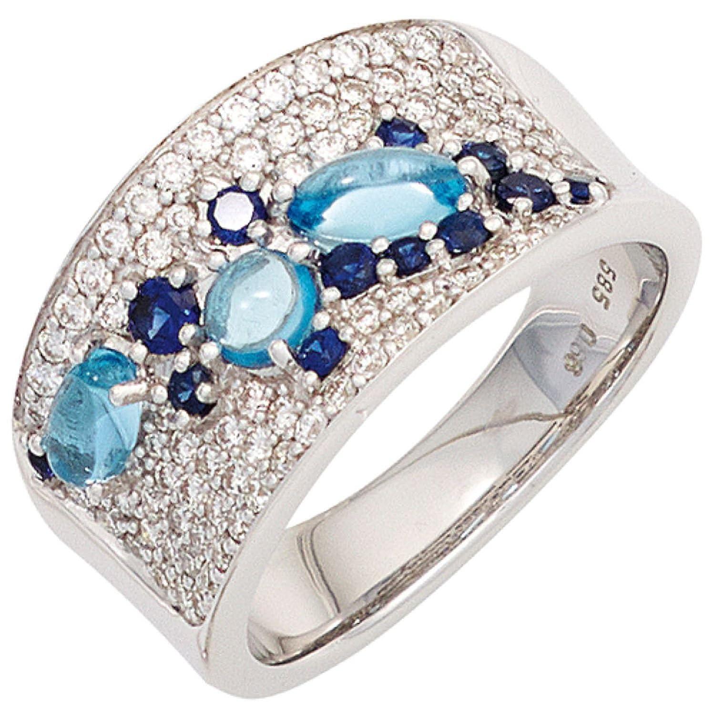 Damen Ring 585 Weißgold 12 blaue Safire 3 Blautopase 81 Diamanten online bestellen