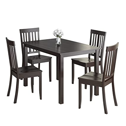 CorLiving 5 Piece DRG-595-Z3 Atwood Dining Set with Stained Chairs, Cappuccino