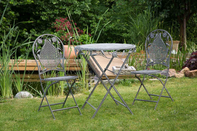 Garnitur Gartenset Eisen Gartenmöbel Garten Grau Antikstil garden furniture