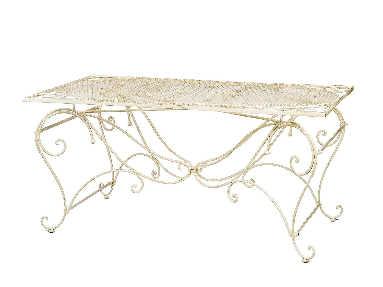 Tisch Gartentisch 160x80cm Eisen antik Stil Garten creme weiß garden table iron günstig bestellen