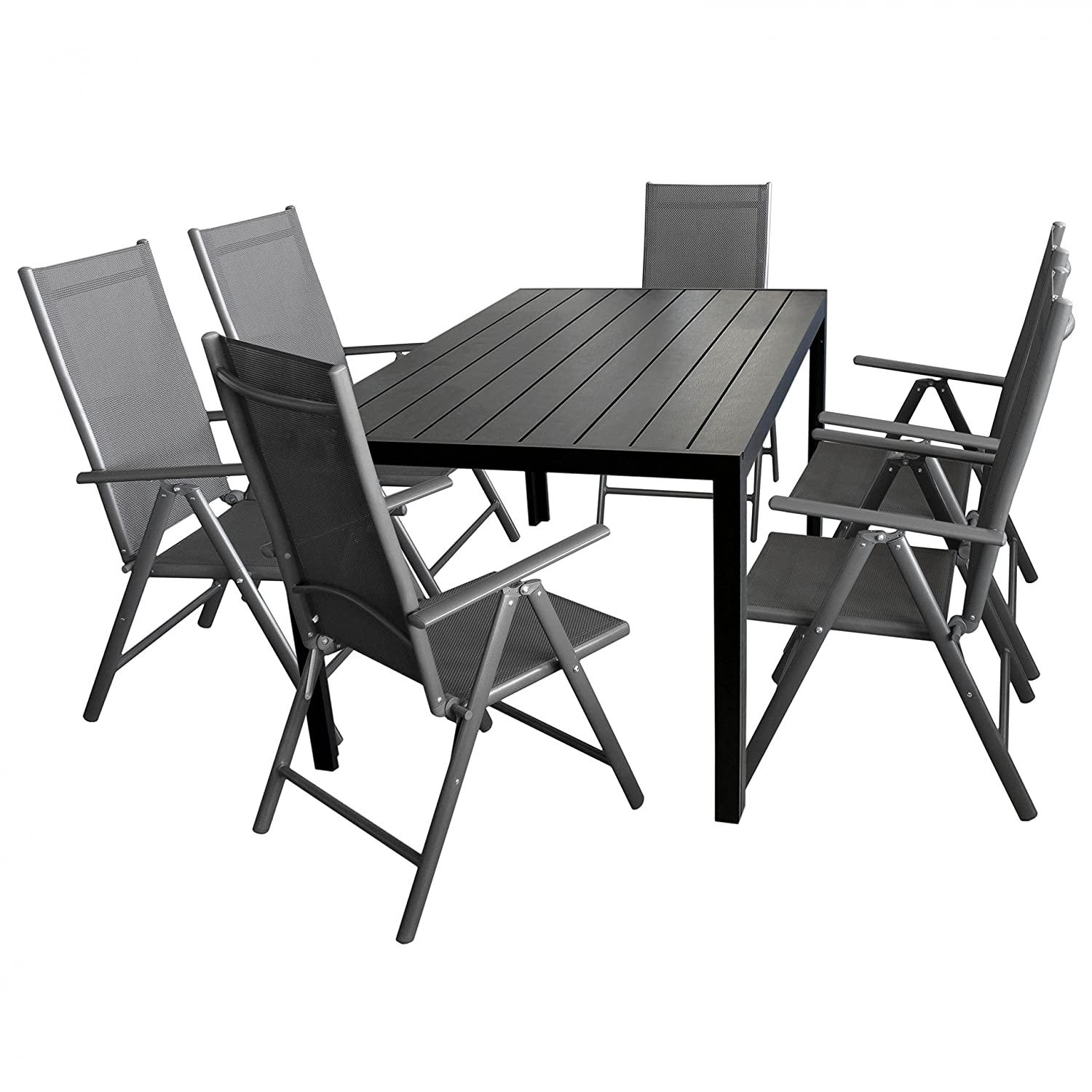 7tlg gartengarnitur gartenm bel terrassenm bel set sitzgruppe aluminium gartentisch polywood. Black Bedroom Furniture Sets. Home Design Ideas