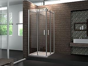 8 mm Designer Duschkabine Duschabtrennung Schiebetür Dusche Echt Glas 90 x 90 x 195 cm TELA ohne Duschtasse  Überprüfung und weitere Informationen