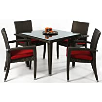 Image of Rattan Wicker Deep Seating Patio Table Set w/Cushions