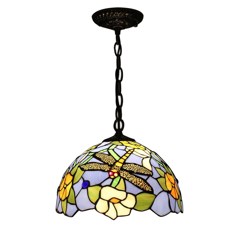 gweat franz sisch rural stil tiffany 12 zoll bunte glas libelle h ngende lampe f r wohnzimmer. Black Bedroom Furniture Sets. Home Design Ideas