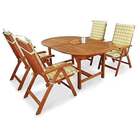 Indoba IND-70068-BASE5 plus IND-70412-AUHL Serie Bali Gartenmöbel Set, 9-teilig aus Holz, Eukalyptus/ Grun, 220x110x74 cm