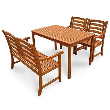 indoba® IND-70288-MOSE4GB2 - Serie Montana - Gartenmöbel Set 4-teilig aus Holz FSC zertifiziert - 2 Gartenstuhle + Gartenbank 2-Sitzer + rechteckiger Gartentisch mit Schirmöffnung