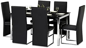 Julian Bowen Tempo Glass Dining Table Set with 4 Chairs, Black