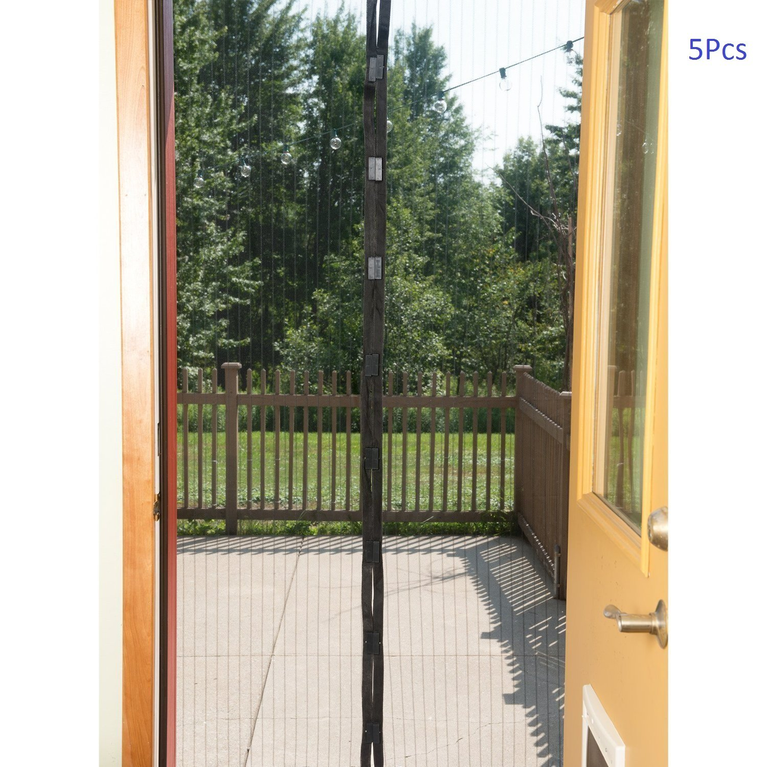 E joy hands free retractable magic mesh screen door 5 pcs for Retractable screen door replacement magnet