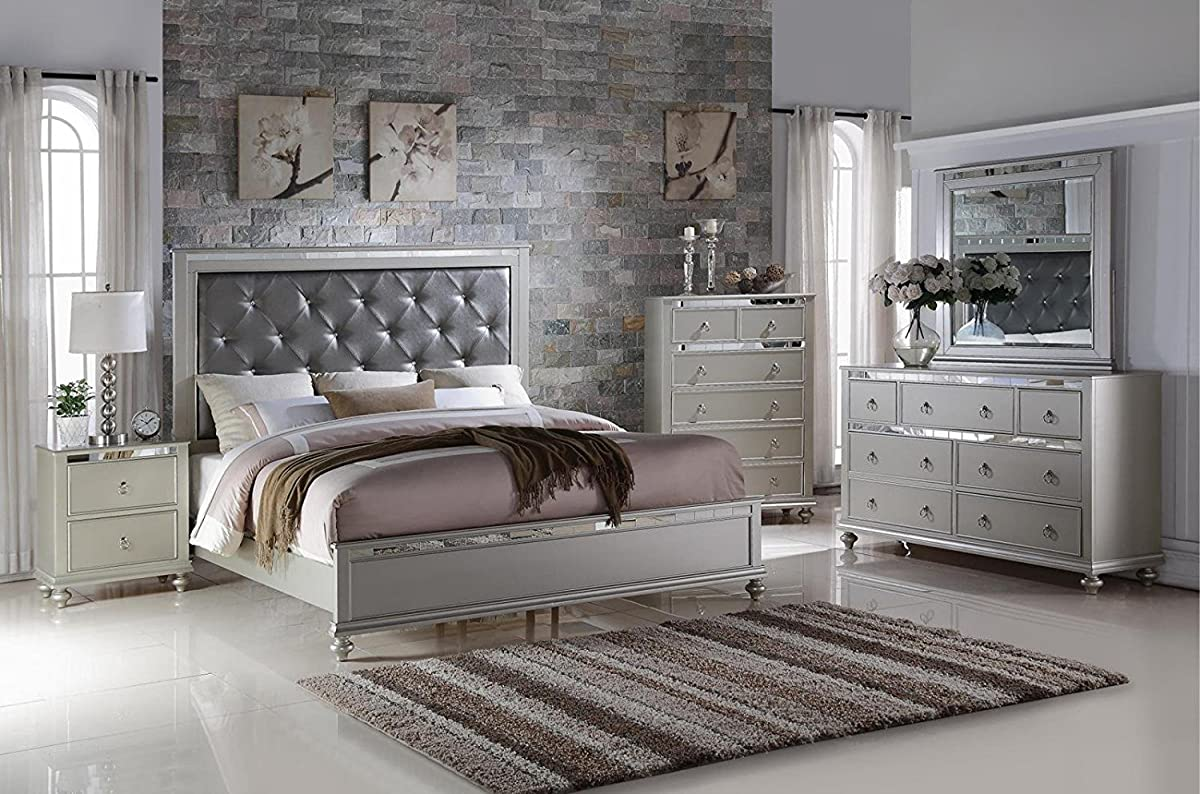 Soflex Kiana Silver Grey Diamond Tufted Headboard Panel Bedroom Set 6 Pcs Contemporary (King)