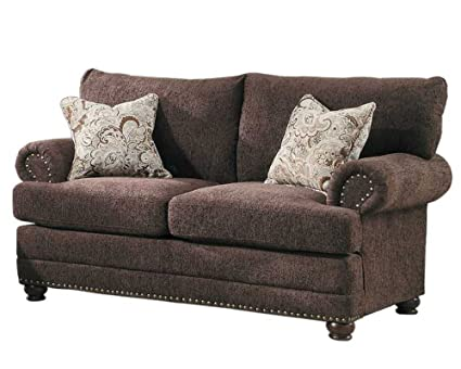 Homelegance 9729-2 Elena Love Seat, Dark Brown Chenille