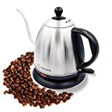 Elementi Premier Electric Gooseneck Kettle for Pour Over Coffee and Tea | 1.0 Liter Stainless Steel Drip Kettle Teapot (Color: Stainless Steel, Tamaño: 1.0 L)