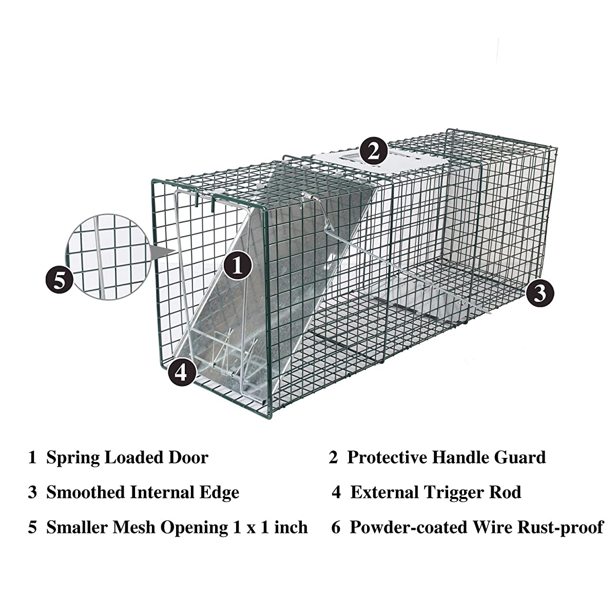 """MLG Tools 2-Pack Humane Live Animal Trap 32"""" & 24"""" Catch Release Cage for Large Nuisance Rodents Control Raccoon Mole Gopher Opossum Skunk Squirrel Feral Stray Cats Wild Rabbits"""
