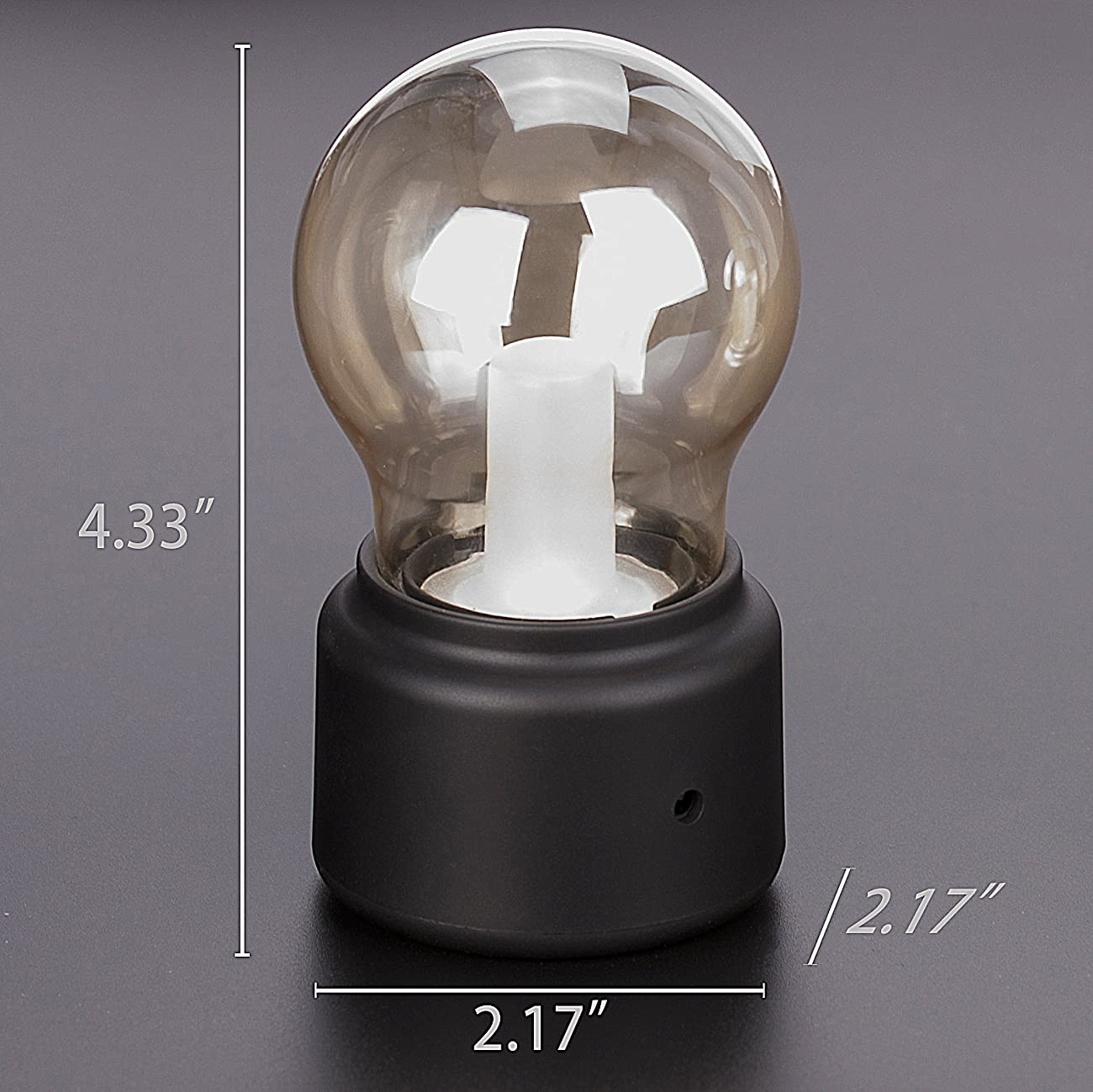 Veesee LED Vintage Light Bulb Rechargeable Night Light Safety USB Energy Saving Low Voltage Portable for Home Desk Table Tea Travel (Black) 5