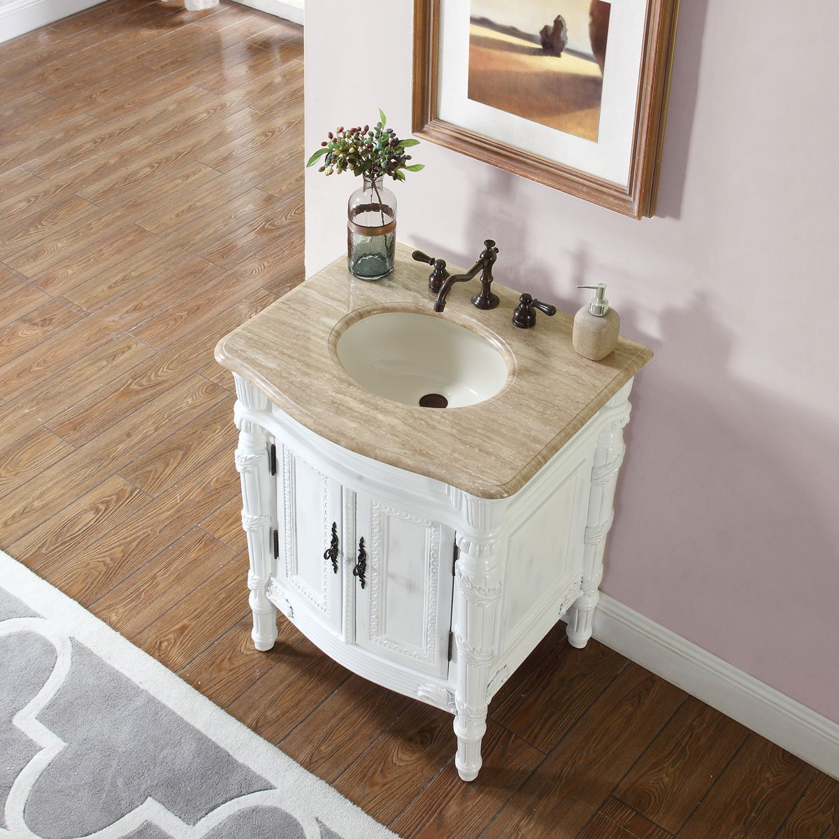 Silkroad Exclusive Travertine Top Single Sink Bathroom Vanity with White Oak Finish Cabinet, 26-Inch 2