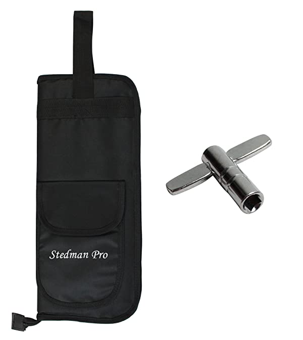 YMC DSB10-BK 10mm Foam Drum Stick Bag Holder Mallet Bag Drumstick Bag with A Drum Key -Black (Color: Black)