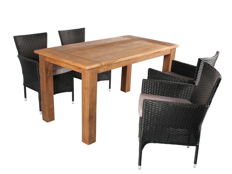 GARDENho.me 5tlg. Teak Polyrattan Sitzgruppe SALERNO inkl. Sitzkissen, Teaktisch ca. 150 x 80 cm, Poyrattan Sessel schwarz günstig