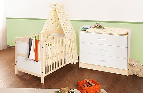 Pinolino Sparset Florian breit, 2-teilig, bestehend aus Kinderbett (140 x 70 cm) und breiter Wickelkommode mit Wickelansatz, cremeweiß/Ahorn (Art.-Nr. 09 00 95 B)