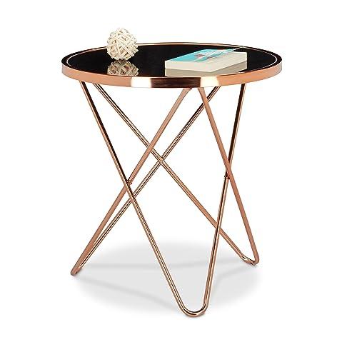 Relaxdays 10020415 Tavolino per Soggiorno in Metallo, Ottica Rame e Vetro Nero, Design Vintage Anni 70, Piano Rotondo, 55 X 55 X 58 cm, Rame e Nero