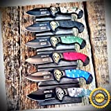 6PC SET BALLISTIC Bowie MIDNIGHT OPS Assisted Open Pocket Knife - Outdoor For Camping Hunting Cosplay