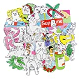 RipNDip Supreme Stickers Pack [50pcs],Sanmatic Sticker Graffiti Skateboard Stickers Laptop Cartoon Luggage Decal (Color: Cat)