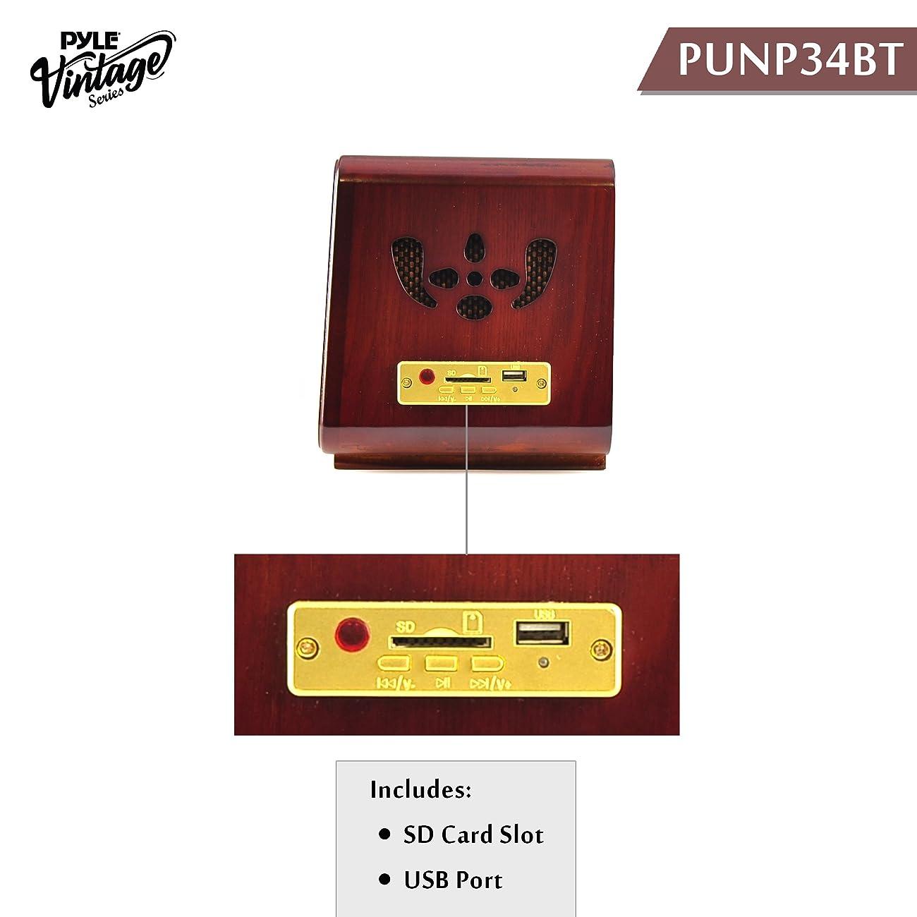 Pyle PUNP34BT Vintage Retro Classic Style Bluetooth Radio Sound System, USB/SD Readers, AM/FM Radio 1