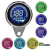 7 Colors LCD 12V Universal Motorcycle Speedometer Odometer Tachometer Gauge Fuel Meter