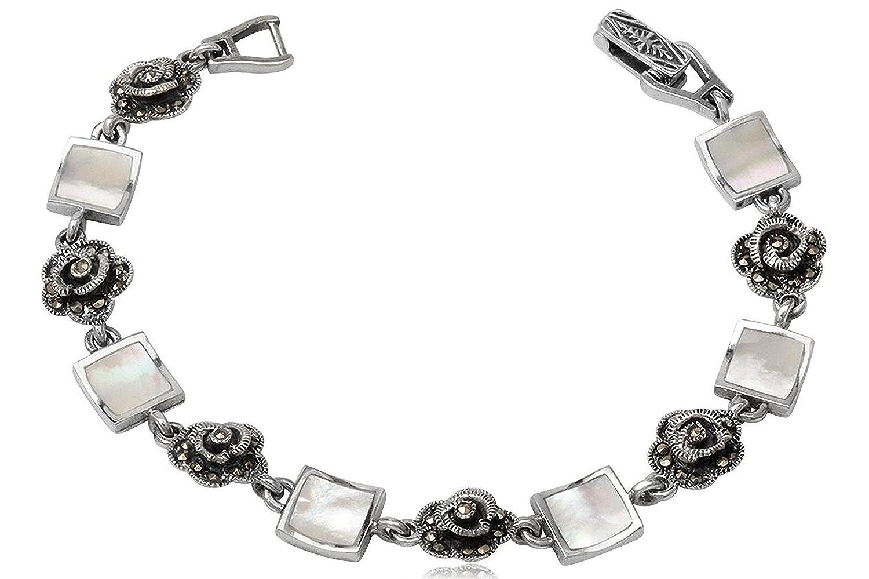 EYS exklusives Damen-Armband Rosen Perlmutt Markasit 925 Sterling Silber weiß im Etui Muschel Armkette günstig kaufen