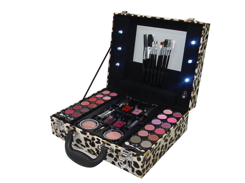 light up animal leopard print vanity trinket case make up cosmetic gift set ebay. Black Bedroom Furniture Sets. Home Design Ideas