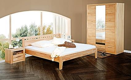 2065-2 - Bett, 140 x 200cm , Kernbuche massiv geölt, mit Längs - Sprossen