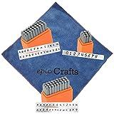 Alphabet Metal Letter Stamps with Bridgette Uppercase and Bridgette Lowercase and Numbers Stamp Set Bundled with Epic Crafts Microfiber Cloth
