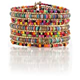 SPUNKYsoul Bohemian Multi-Colored Sequin Gold Cuff Bracelet Collection (Color: Multicolor)