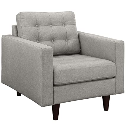 LexMod Empress Upholstered Armchair, 4-Inch, Light Gray