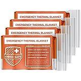 Swiss Safe Emergency Mylar Thermal Blankets (4-Pack) + Bonus Signature Gold Foil Space Blanket: Designed for NASA, Outdoors, Hiking, Survival, Marathons or First Aid (Color: Orange)