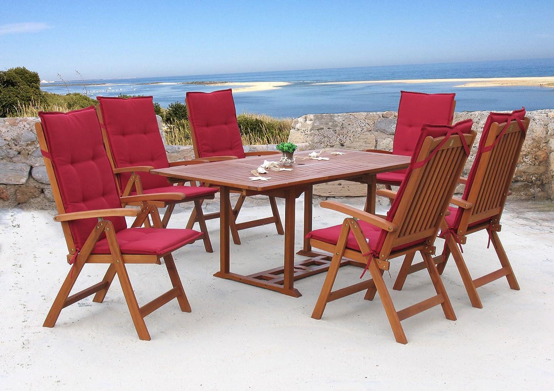 Garten Möbelgruppe Cuba 13tlg Rubin Uni mit ausziehbaren Tisch