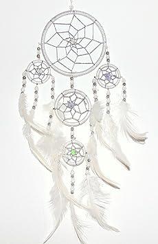 Traumfänger Ø 28 cm weiß mit Federn und Holzperlen