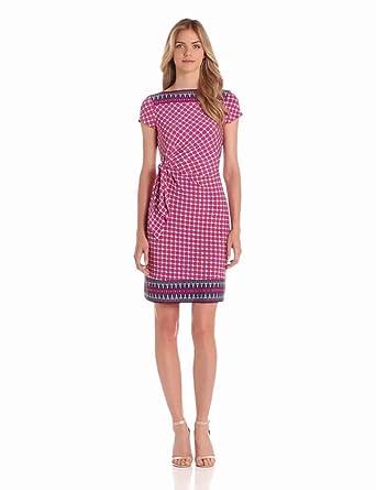 Donna Morgan Women's Elbow Sleeve Mock Wrap Dress, Magenta/Multi, 10
