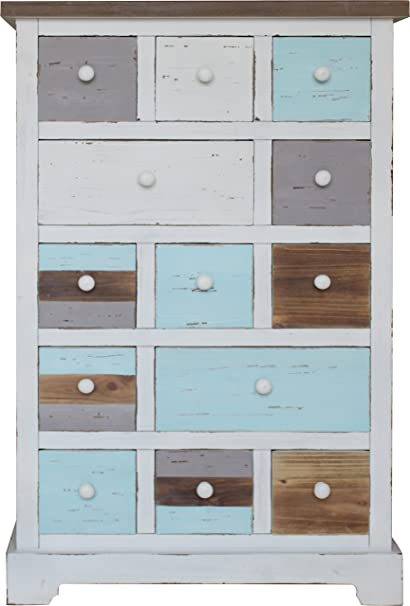 SIT-Möbel 8002-10 Forest - Cómoda (madera DF, acabado envejecido, certificado FSC, 55,5 x 30 x 84 cm), multicolor