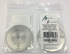 2 Pack Magnesium Ribbon High Purity Lab Chemicals 2 Rolls 99.95% 25 g Approx 70 ft Awesome Industries