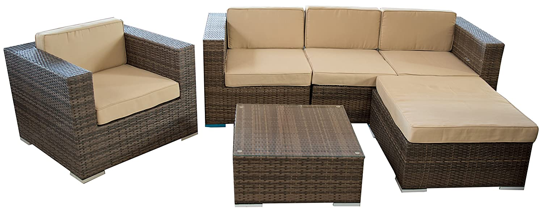 Rattan Sitzgruppe Ecksofa Loungegruppe L-Sofa in braun breite Armlehnen inkl. wasserabweisenden Kissen Aluminiumgestell kaufen