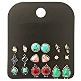 9 Pairs Vintage Triangle/Teardrop/Round Turquoise Stud Earrings Set for Women Silver Plated (Color: Stone Earring)
