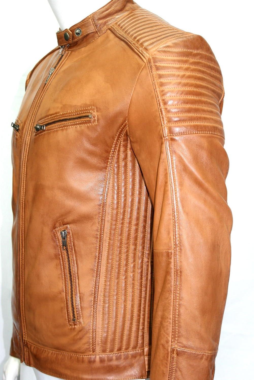 Man kurze biker style Beige Nappa Lammfell echtes Leder Jacke online bestellen