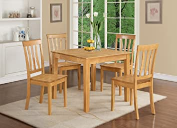 East West Furniture OXAN5-OAK-W 5-Piece Kitchen Table, Oak Finish