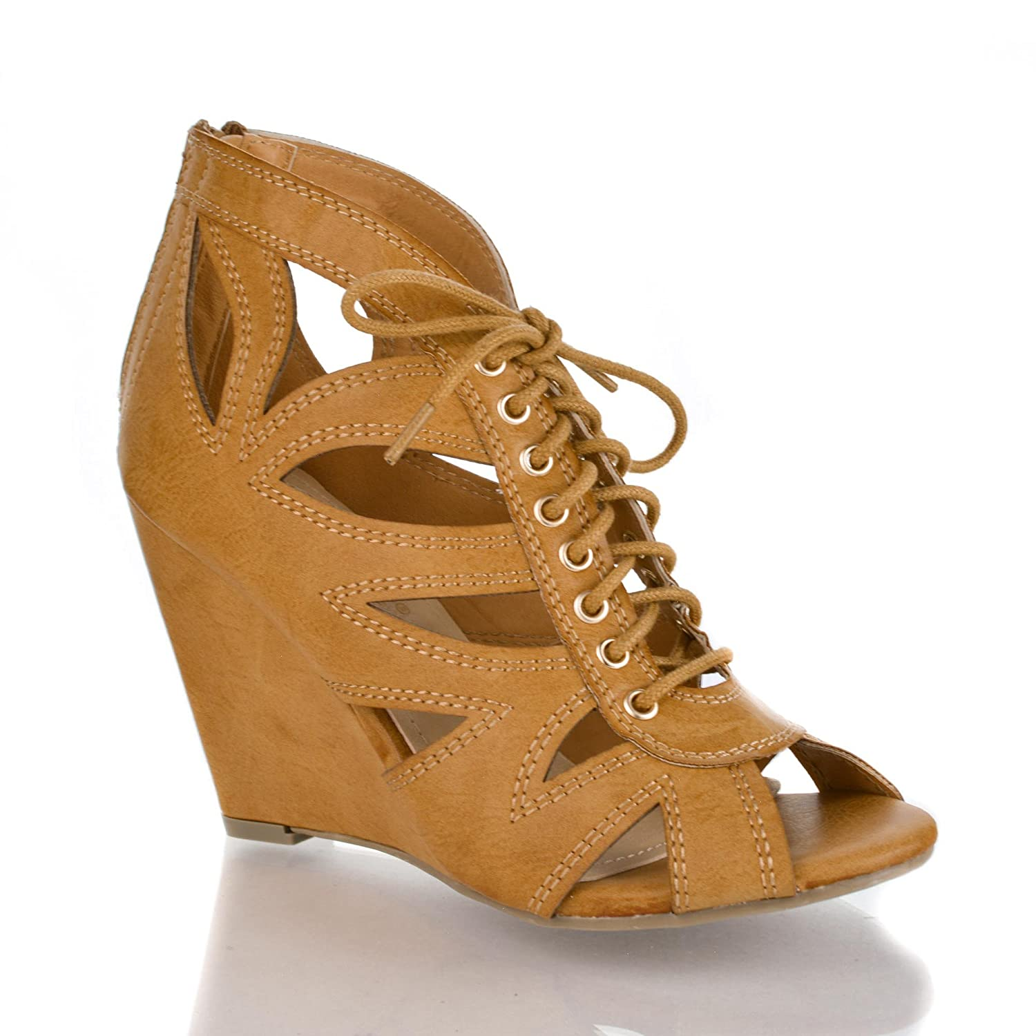 Peep Toe Laser Cut Out Grommet Lace Up Mid Wedge Heel Dress Sandal grommet lace up side tee