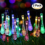 2 Pack Solar Strings Lights, Lemontec 20 Feet 30 LED Water Drop Solar Fairy Lights, Waterproof Lights for Garden, Patio, Yard, Home, Parties- Multi Color (Color: multi color)