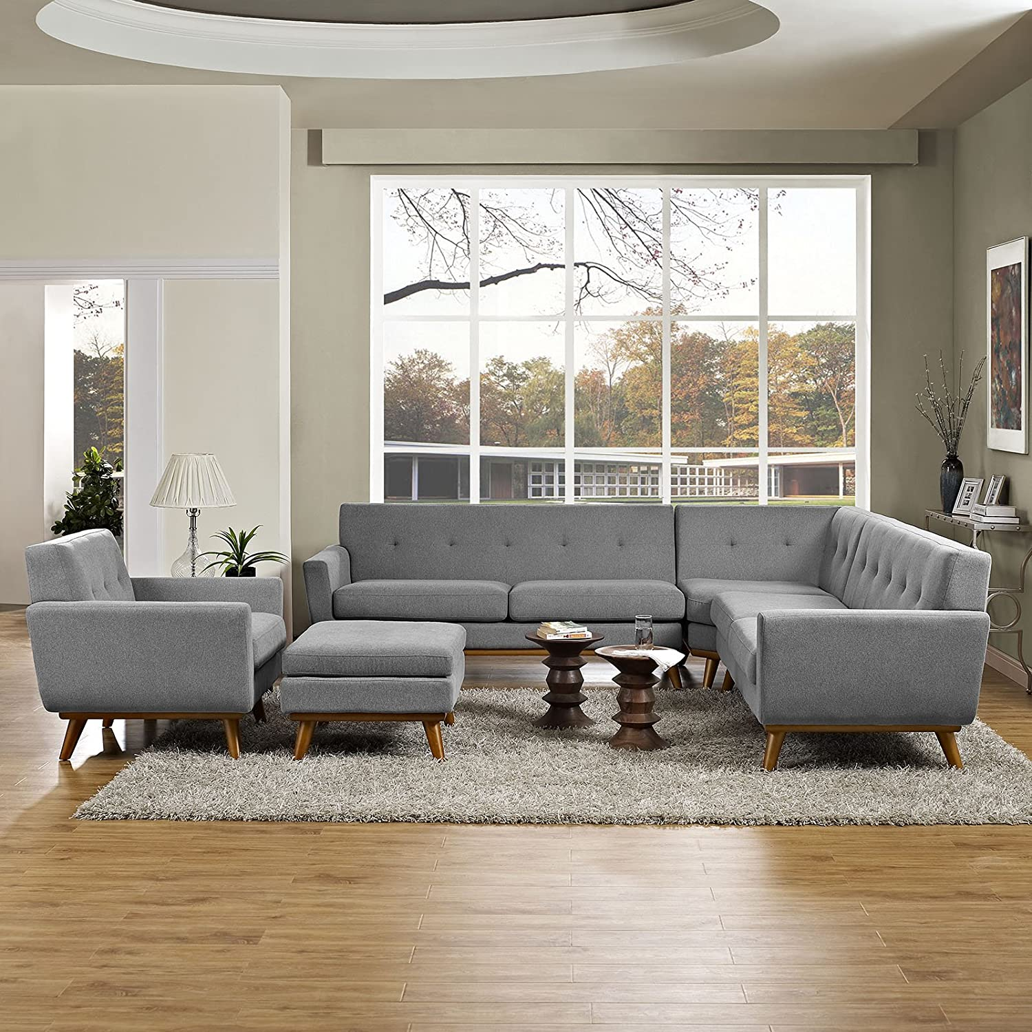 Engage 5 Piece Sectional Sofa - Gray