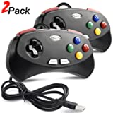 2 Pack USB Controller for Classic SNES Gaming, miadore Wired USB PC Retro Gaming Controller Gamepad Joystick for Windows PC MAC Raspberry Pi 3