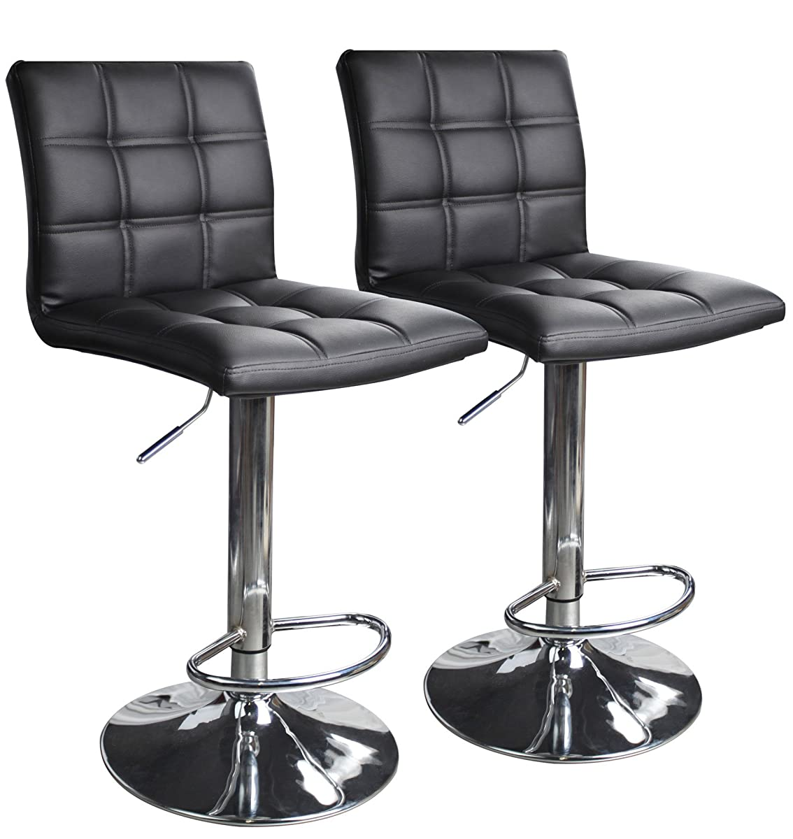Modern Square Leather Adjustable Bar Stools With Back Set Of 2 Counter Height Swivel Stool By