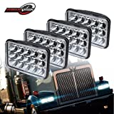 DOT Projector Lens 4X6 Rectagular Sealed Beam Headlight Assemblies Hi/Lo Replace Hid Halogen Bulb Headlamps 12-24V KW Kenworth T600 T800 W900 Truck Peterbilt 379 Chevy C10 S10 Blazer RV Freightliner