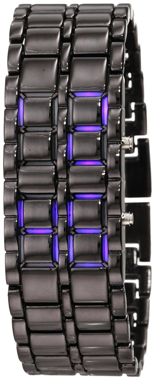 GGI International Men's MLed-Lava-BB Black Stainless Steel Lava Blue LED Digital Bracelet Watch